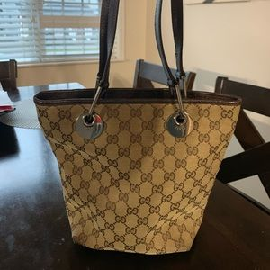 Authentic Gucci monogram with leather purse